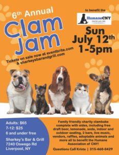 6th Annual Clam Jam - Sunday @ Sharkey's under The Burritt Motors Pavilion