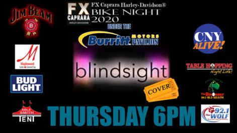 Sharkey's Bike Night – Thursday – Blindsight @ Sharkey's, under the Burritt Motors Pavilion