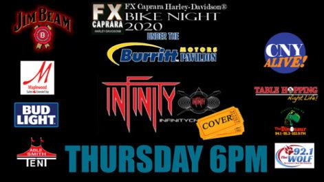 Sharkey's Bike Night – Thursday – Infinity @ Sharkey's, under the Burritt Motors Pavilion